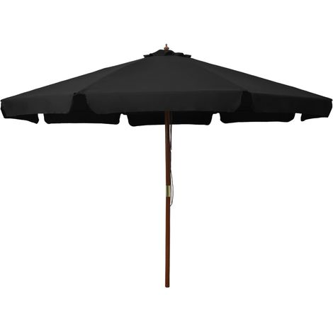 Hommoo Outdoor Parasol with Wooden Pole 330 cm Black