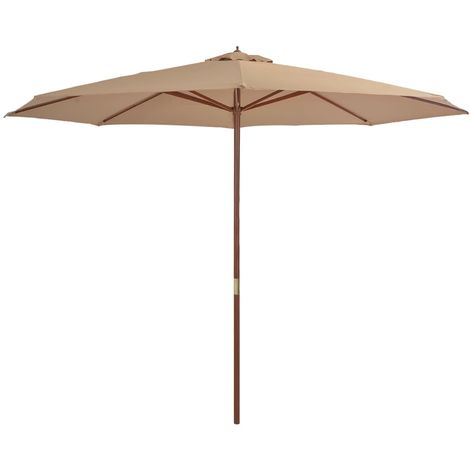 Hommoo Outdoor Parasol with Wooden Pole 350 cm Taupe