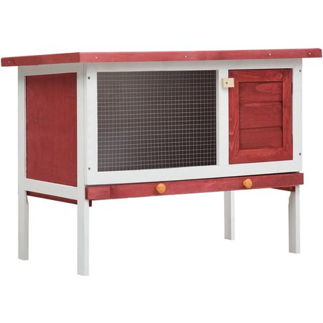 Hommoo Outdoor Rabbit Hutch 1 Layer Red Wood