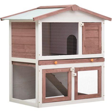 Hommoo Outdoor Rabbit Hutch 3 Doors Brown Wood