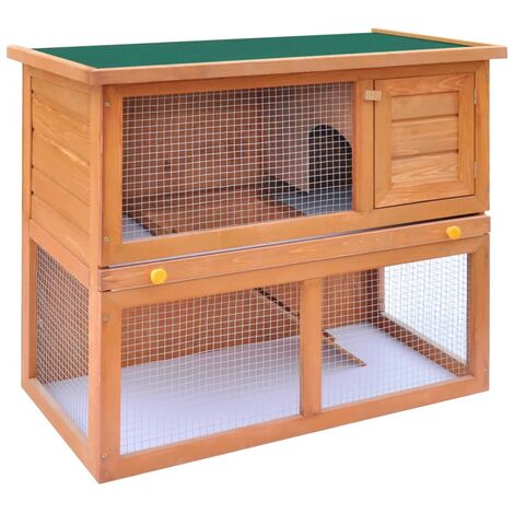Hommoo Outdoor Rabbit Hutch Small Animal House Pet Cage 1 Door Wood QAH06896