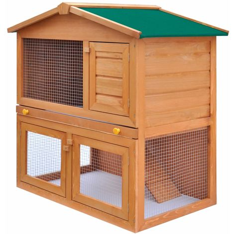 Hommoo Outdoor Rabbit Hutch Small Animal House Pet Cage 3 Doors Wood