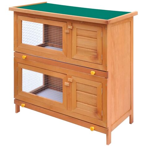 Hommoo Outdoor Rabbit Hutch Small Animal House Pet Cage 4 Doors Wood QAH06897