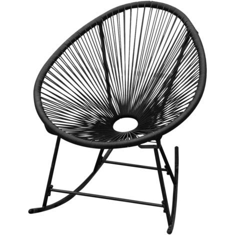 Hommoo Outdoor Rocking Chair Black Poly Rattan