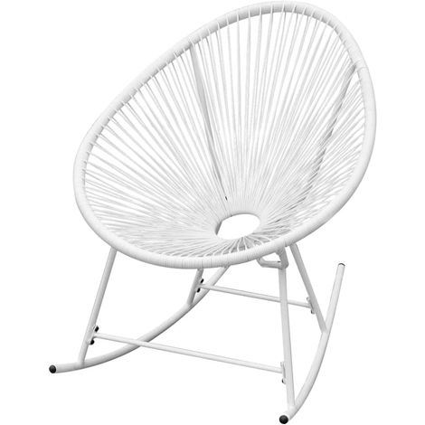 Hommoo Outdoor Rocking Chair White Poly Rattan