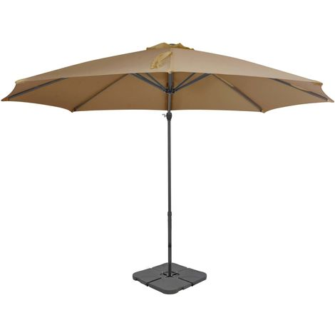 Hommoo Outdoor Umbrella with Portable Base Taupe