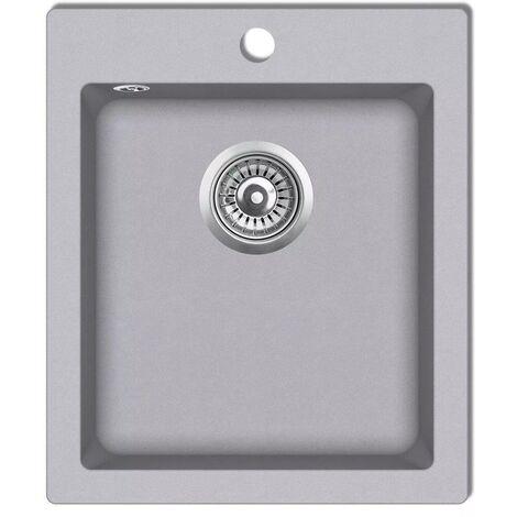 Hommoo Overmount Kitchen Sink Single Basin Granite Grey