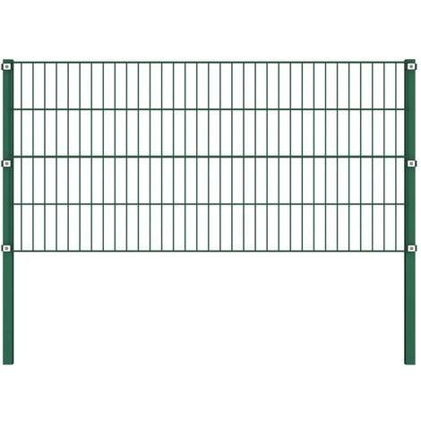 Hommoo Panel de valla con postes hierro verde 1,7x0,8 m
