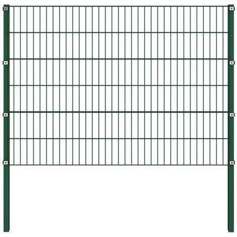 Hommoo Panel de valla con postes hierro verde 1,7x1,2 m