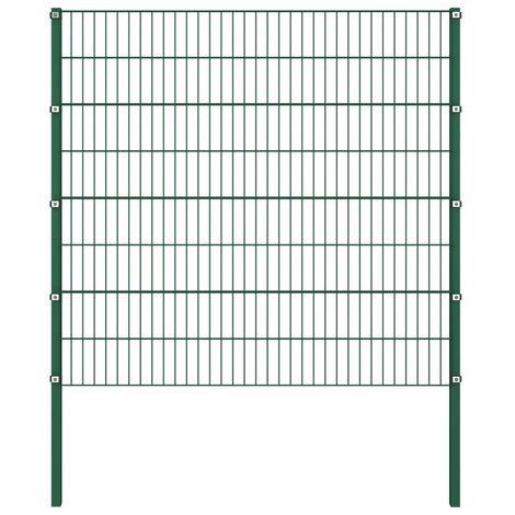 Hommoo Panel de valla con postes hierro verde 1,7x1,6 m