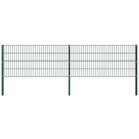 Hommoo Panel de valla con postes hierro verde 3,4x0,8 m