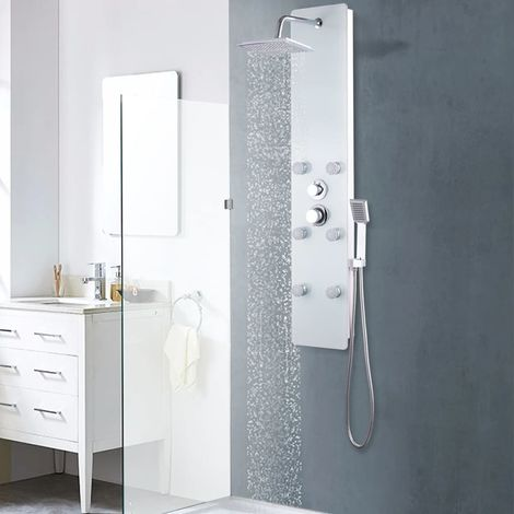 Hommoo Panel ducha de vidrio 25x44,6x130 cm blanco