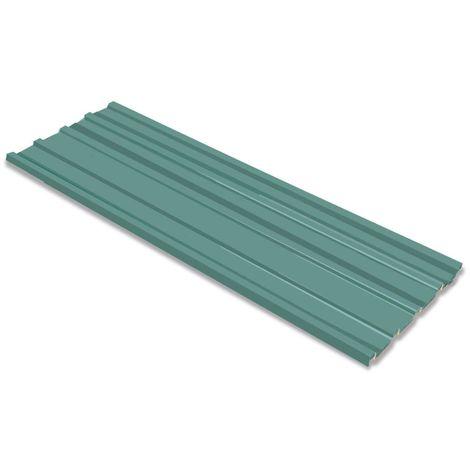 Hommoo Panel para tejado acero galvanizado verde 12 unidades