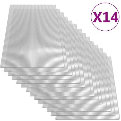 Hommoo Paneles de policarbonato 14 unidades 4 mm 121x60 cm