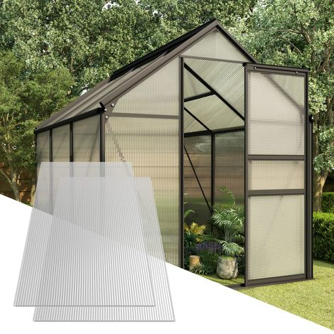 Hommoo Paneles de policarbonato 2 unidades 6 mm 150x65 cm