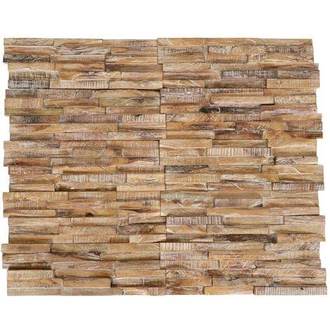 Hommoo Paneles de revestimiento de pared 3D 10 piezas teca maciza 1 m2