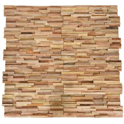 Hommoo Paneles revestimiento de pared 3D 10 piezas teca maciza 1 m2