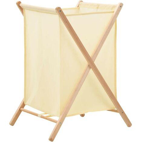 Hommoo Panier à linge Bois de cèdre et textile Beige 42 x 41 x 64 cm HDV12371