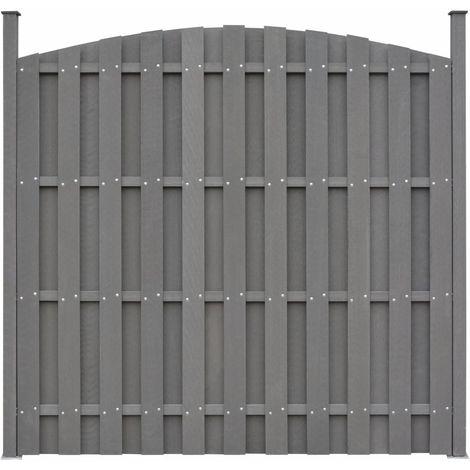 Hommoo Panneau de clôture avec 2 poteaux WPC 180x(165-180) cm/Gris