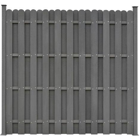 Hommoo Panneau de clôture avec 2 poteaux WPC 180x180 cm Gris