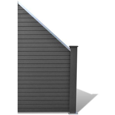 Hommoo Panneau de clôture WPC 105 x (105-185) cm Gris