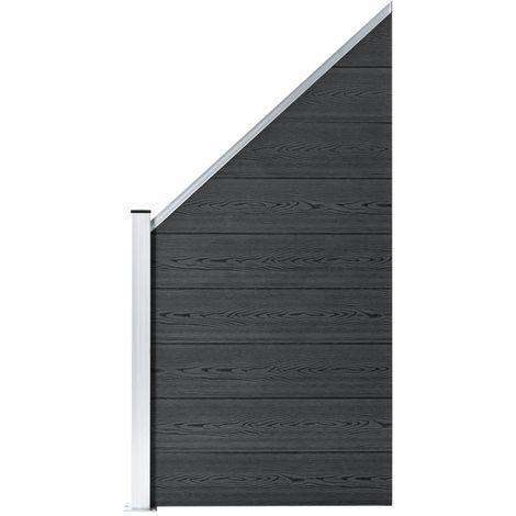 Hommoo Panneau de clôture WPC 90 x(100-180) cm Gris