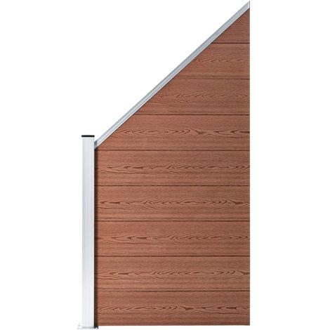 Hommoo Panneau de clôture WPC 90 x(100-180) cm Marron