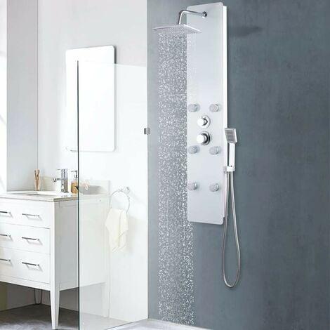 Hommoo Panneau de douche Verre 25 x 44,6 x 130 cm Blanc HDV05005