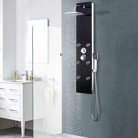 Hommoo Panneau de douche Verre 25 x 44,6 x 130 cm Noir HDV05006