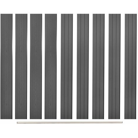 Hommoo Panneaux de clôture de remplacement 9 pcs WPC 170 cm Gris