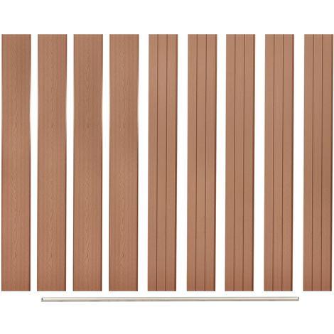 Hommoo Panneaux de clôture de remplacement 9 pcs WPC 170 cm Marron