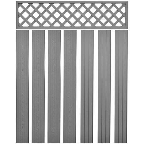 Hommoo Panneaux de clôture de remplacement WPC 7 pcs 170 cm Gris