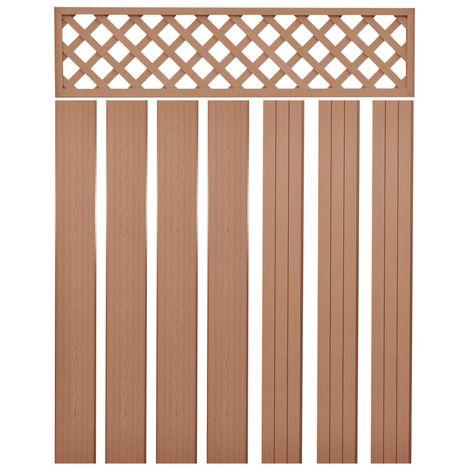 Hommoo Panneaux de clôture de remplacement WPC 7 pcs 170 cm Marron