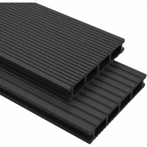 Hommoo Panneaux de terrasse WPC avec accessoires 15 m2 4 m Anthracite/
