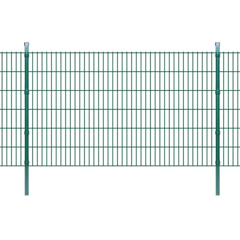 Panneaux et poteaux de clôture 2D pour jardin 2008x1230 mm 10 m HDV16051 - Hommoo