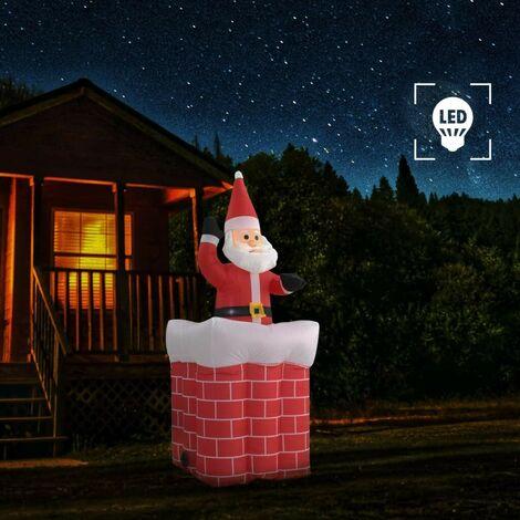 Hommoo Papá Noel y chimenea inflables con movimiento y LED IP44 180cm