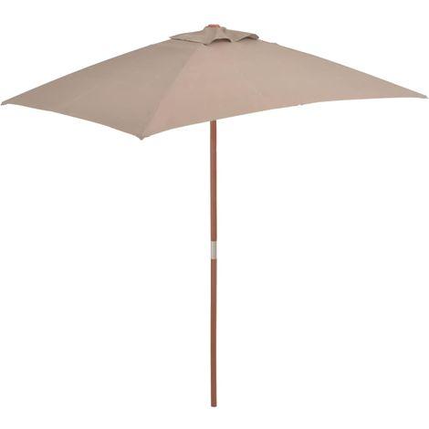 Hommoo Parasol avec mat en bois 150 x 200 cm Taupe