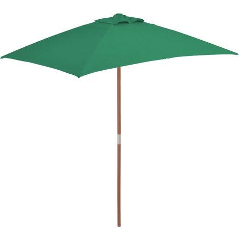 Hommoo Parasol avec mat en bois 150 x 200 cm Vert