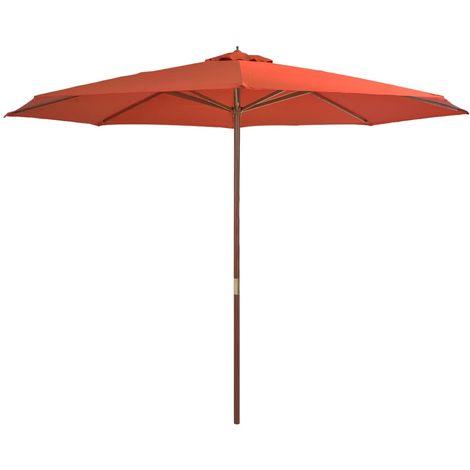 Hommoo Parasol avec mat en bois 350 cm Terre cuite