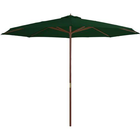 Hommoo Parasol avec mat en bois 350 cm Vert