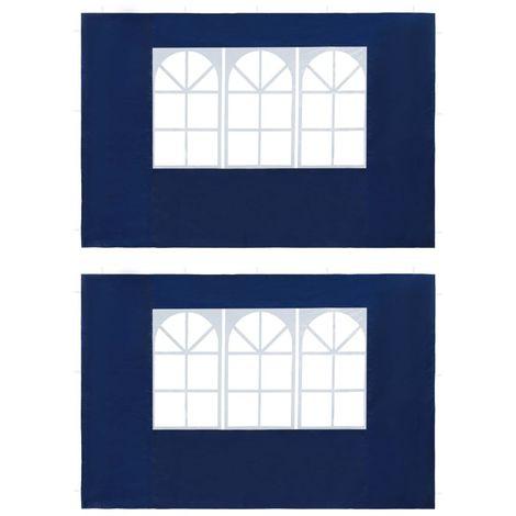 Hommoo Paredes laterales de carpa de fiesta con ventana PE azul 2 uds