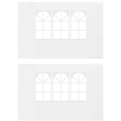 Hommoo Paredes laterales de carpa de fiesta con ventana PE blanco 2uds