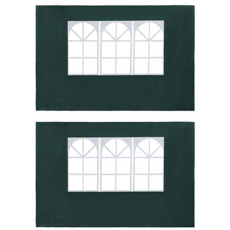 Hommoo Paredes laterales de carpa de fiesta con ventana PE verde 2 uds