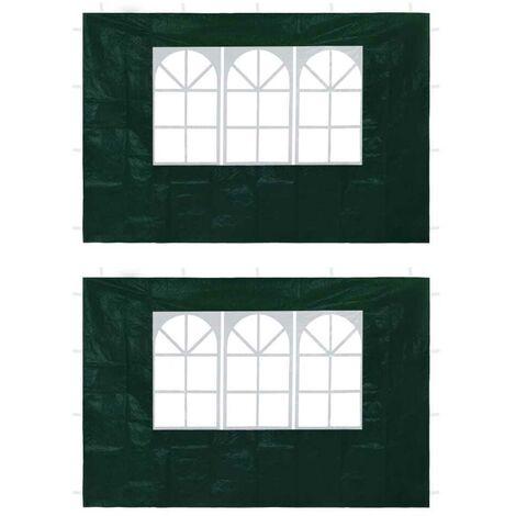 Hommoo Paredes laterales de carpa de fiesta con ventana verde 2 uds