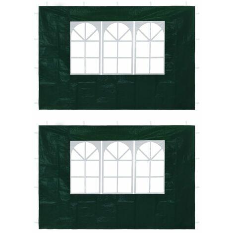 Hommoo Paredes laterales de carpa de fiesta con ventana verde 2 uds HAXD29280
