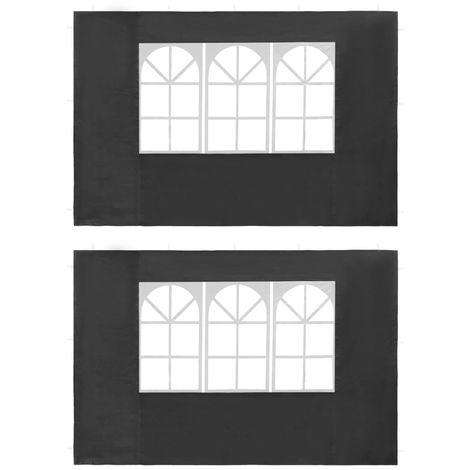 Hommoo Paredes laterales de carpa de fiesta ventana PE antracita 2 uds
