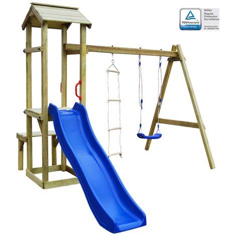 Hommoo Parque infantil con tobogán, columpio y escalera de madera