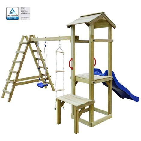 Hommoo Parque infantil con tobogán, escaleras y columpio de madera