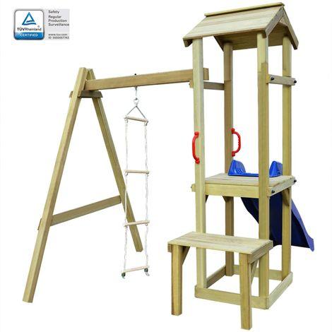 Hommoo Parque infantil con tobogán y escalera de madera