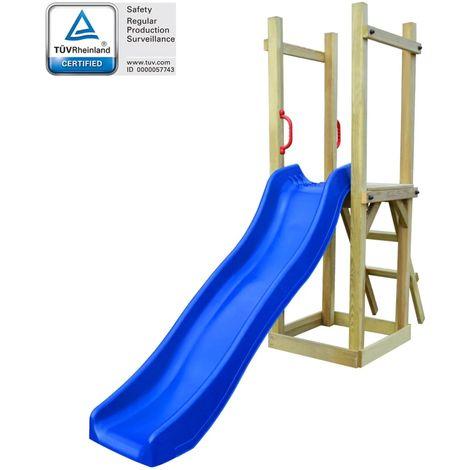 Hommoo Parque infantil de jardin con tobogán y escalera madera de pino